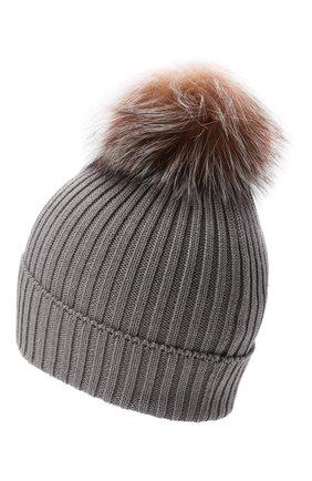 Детского шерстяная шапка с мехом MONCLER светло-серого цвета, арт. G2-954-3B711-10-04S01   Фото 2 (Материал: Шерсть)