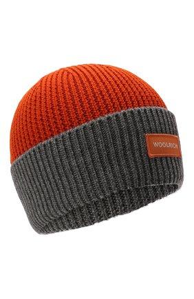 Детского шерстяная шапка WOOLRICH оранжевого цвета, арт. CFWKAC0106MR/UF0532 | Фото 1 (Материал: Шерсть, Текстиль, Синтетический материал)