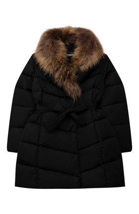 Детское пуховое пальто FREEDOMDAY черного цвета, арт. IFRJG825AB-735-RDRF | Фото 1 (Материал утеплителя: Пух и перо; Рукава: Длинные; Материал подклада: Синтетический материал; Материал внешний: Синтетический материал; Девочки Кросс-КТ: Пуховик-верхняя одежда; Кросс-КТ: Сезон: зима)