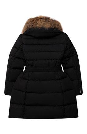 Детское пуховое пальто FREEDOMDAY черного цвета, арт. IFRJG825AB-735-RDRF | Фото 2 (Материал утеплителя: Пух и перо; Рукава: Длинные; Материал подклада: Синтетический материал; Материал внешний: Синтетический материал; Девочки Кросс-КТ: Пуховик-верхняя одежда; Кросс-КТ: Сезон: зима)