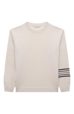 Детский кашемировый пуловер BRUNELLO CUCINELLI белого цвета, арт. B12M10410B | Фото 1 (Рукава: Длинные; Материал внешний: Кашемир, Шерсть; Девочки Кросс-КТ: Пуловер-одежда)
