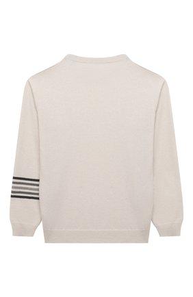 Детский кашемировый пуловер BRUNELLO CUCINELLI белого цвета, арт. B12M10410B | Фото 2 (Рукава: Длинные; Материал внешний: Кашемир, Шерсть; Девочки Кросс-КТ: Пуловер-одежда)