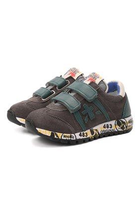 Детские кожаные кроссовки PREMIATA WILL BE серого цвета, арт. LUCY V/00021734/T0D | Фото 1 (Материал внутренний: Натуральная кожа)