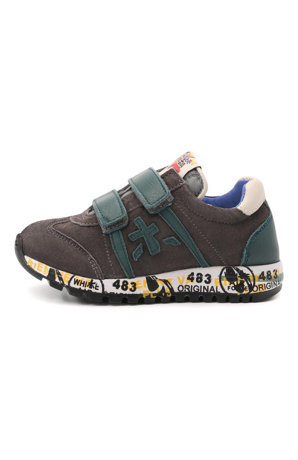 Детские кожаные кроссовки PREMIATA WILL BE серого цвета, арт. LUCY V/00021734/T0D | Фото 2 (Материал внутренний: Натуральная кожа)