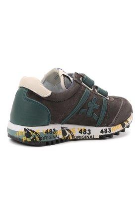Детские кожаные кроссовки PREMIATA WILL BE серого цвета, арт. LUCY V/00021734/T0D | Фото 3 (Материал внутренний: Натуральная кожа)