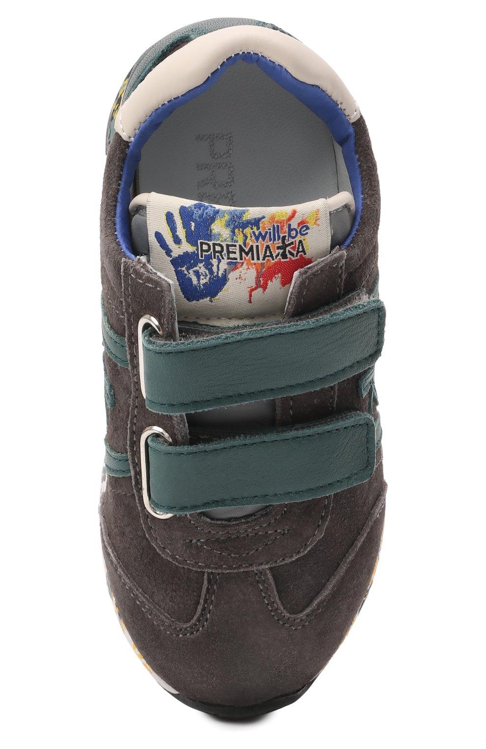 Детские кожаные кроссовки PREMIATA WILL BE серого цвета, арт. LUCY V/00021734/T0D | Фото 4 (Материал внутренний: Натуральная кожа)