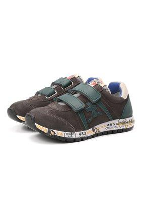 Детские кожаные кроссовки PREMIATA WILL BE серого цвета, арт. LUCY V/00021734/CHILD | Фото 1 (Материал внутренний: Натуральная кожа)