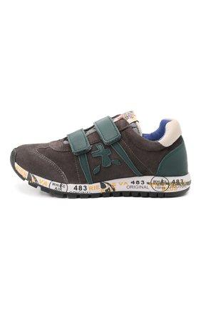 Детские кожаные кроссовки PREMIATA WILL BE серого цвета, арт. LUCY V/00021734/CHILD | Фото 2 (Материал внутренний: Натуральная кожа)