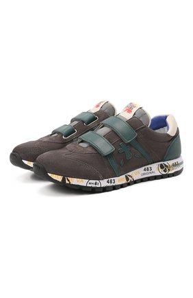 Детские кожаные кроссовки PREMIATA WILL BE серого цвета, арт. LUCY V/00021734/JUN | Фото 1 (Материал внутренний: Натуральная кожа)