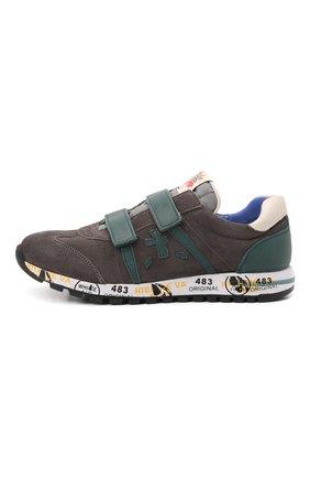 Детские кожаные кроссовки PREMIATA WILL BE серого цвета, арт. LUCY V/00021734/JUN | Фото 2 (Материал внутренний: Натуральная кожа)