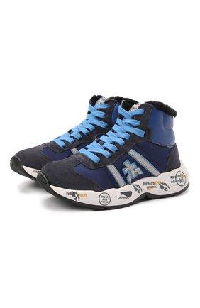 Детские высокие кожаные кроссовки PREMIATA WILL BE темно-синего цвета, арт. ARTHUR/M0181803/CHILD | Фото 1 (Материал утеплителя: Натуральный мех; Материал внешний: Текстиль)