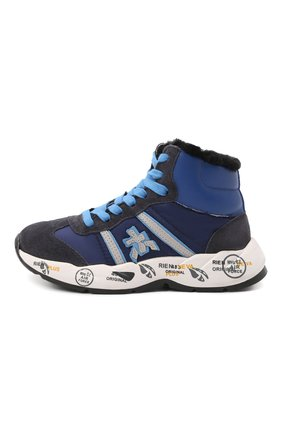 Детские высокие кожаные кроссовки PREMIATA WILL BE темно-синего цвета, арт. ARTHUR/M0181803/CHILD | Фото 2 (Материал утеплителя: Натуральный мех; Материал внешний: Текстиль)