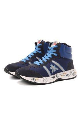 Детские высокие кожаные кроссовки PREMIATA WILL BE темно-синего цвета, арт. ARTHUR M/M0181803/JUN | Фото 1 (Материал утеплителя: Натуральный мех; Материал внешний: Текстиль)