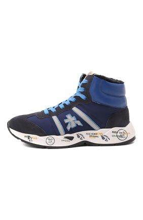 Детские высокие кожаные кроссовки PREMIATA WILL BE темно-синего цвета, арт. ARTHUR M/M0181803/JUN | Фото 2 (Материал утеплителя: Натуральный мех; Материал внешний: Текстиль)