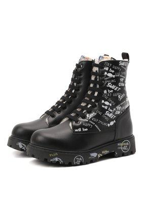 Детские кожаные ботинки PREMIATA WILL BE черно-белого цвета, арт. HI-URBAN M/M0191462/CHILD | Фото 1 (Материал утеплителя: Натуральный мех)