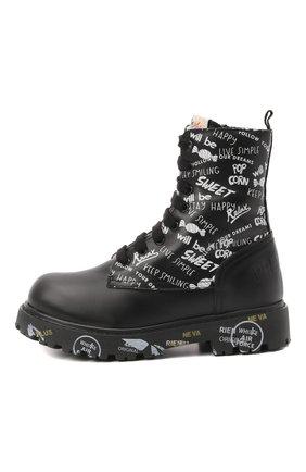 Детские кожаные ботинки PREMIATA WILL BE черно-белого цвета, арт. HI-URBAN M/M0191462/CHILD | Фото 2 (Материал утеплителя: Натуральный мех)