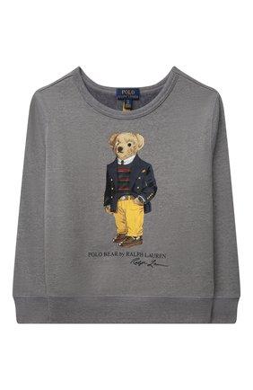 Детский хлопковый свитшот POLO RALPH LAUREN серого цвета, арт. 323853796 | Фото 1 (Материал внешний: Хлопок, Синтетический материал; Мальчики Кросс-КТ: Толстовка-одежда; Рукава: Длинные)