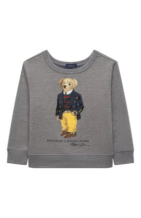 Детский хлопковый свитшот POLO RALPH LAUREN серого цвета, арт. 322853796 | Фото 1 (Материал внешний: Хлопок, Синтетический материал; Мальчики Кросс-КТ: Толстовка-одежда; Рукава: Длинные)