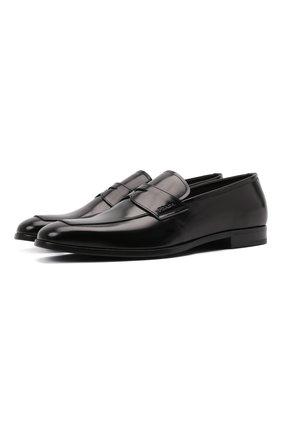Мужские кожаные пенни-лоферы PRADA черного цвета, арт. 2DB161-P39-F0002-X001 | Фото 1