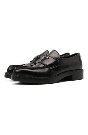 Мужские кожаные лоферы PRADA черного цвета, арт. 2DE131-055-F0002 | Фото 1