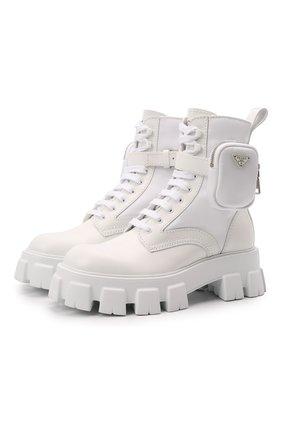 Мужские комбинированные ботинки monolith PRADA белого цвета, арт. 2UE007-3LFR-F0009-D002 | Фото 1 (Подошва: Массивная; Каблук высота: Высокий; Мужское Кросс-КТ: Ботинки-обувь, Хайкеры-обувь)