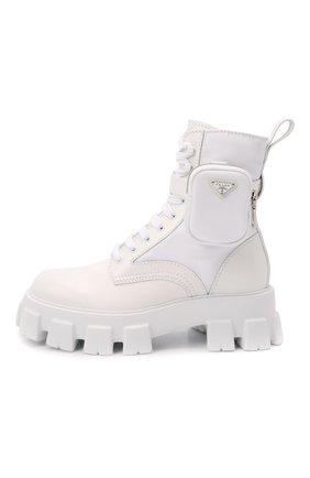 Мужские комбинированные ботинки monolith PRADA белого цвета, арт. 2UE007-3LFR-F0009-D002 | Фото 2 (Подошва: Массивная; Каблук высота: Высокий; Мужское Кросс-КТ: Ботинки-обувь, Хайкеры-обувь)