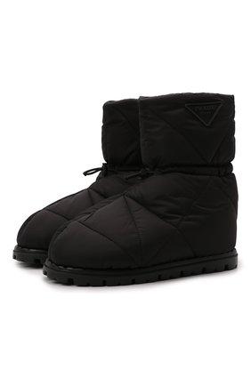 Мужские утепленные сапоги PRADA черного цвета, арт. 2UE019-3LGR-F0002-A000 | Фото 1 (Материал внешний: Текстиль; Материал утеплителя: Натуральный мех; Мужское Кросс-КТ: Сапоги-обувь, зимние сапоги)
