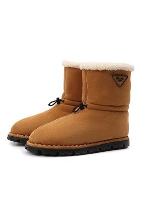Мужские замшевые сапоги PRADA коричневого цвета, арт. 2UE021-1A6-F0046-A000 | Фото 1 (Материал внешний: Натуральный мех; Мужское Кросс-КТ: Сапоги-обувь, зимние сапоги)