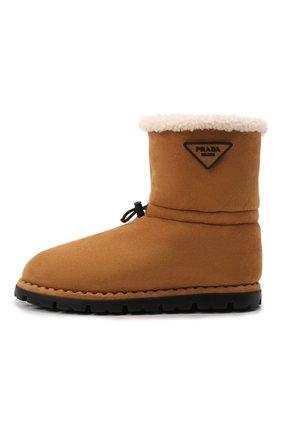 Мужские замшевые сапоги PRADA коричневого цвета, арт. 2UE021-1A6-F0046-A000 | Фото 2 (Материал внешний: Натуральный мех; Мужское Кросс-КТ: Сапоги-обувь, зимние сапоги)