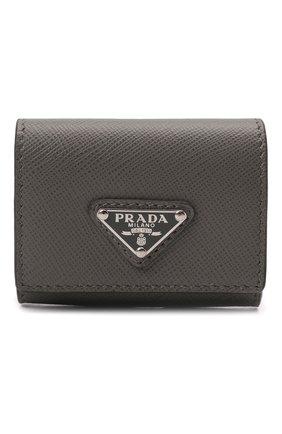 Кожаный чехол для airpods pro PRADA серого цвета, арт. 2TT133-2AHF-F0K44 | Фото 1