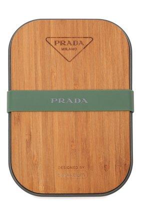 Мужской контейнер PRADA коричневого цвета, арт. 2UP002-2DMS-F0276-OOO   Фото 1 (Материал: Резина, Синтетический материал, Дерево, Текстиль)