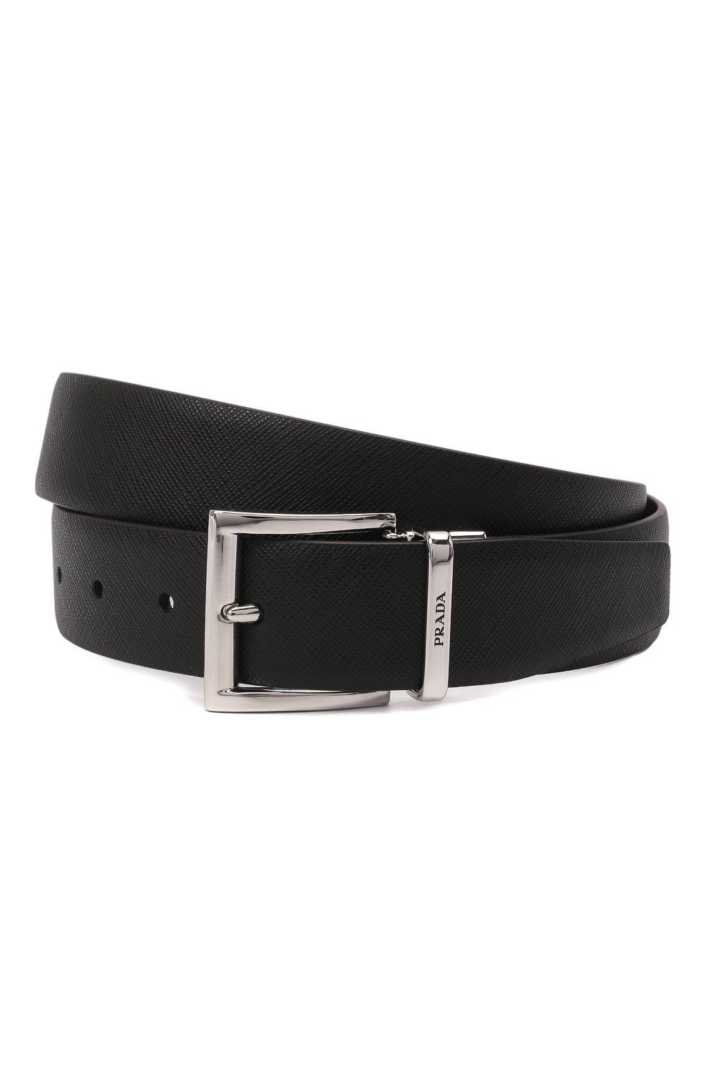 Мужской кожаный ремень PRADA черного цвета, арт. 2CC004-053-F0RD7   Фото 1 (Случай: Формальный)