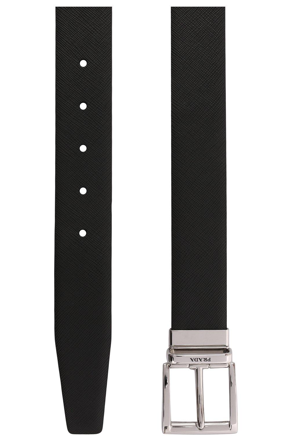 Мужской кожаный ремень PRADA черного цвета, арт. 2CC004-053-F0RD7   Фото 2 (Случай: Формальный)