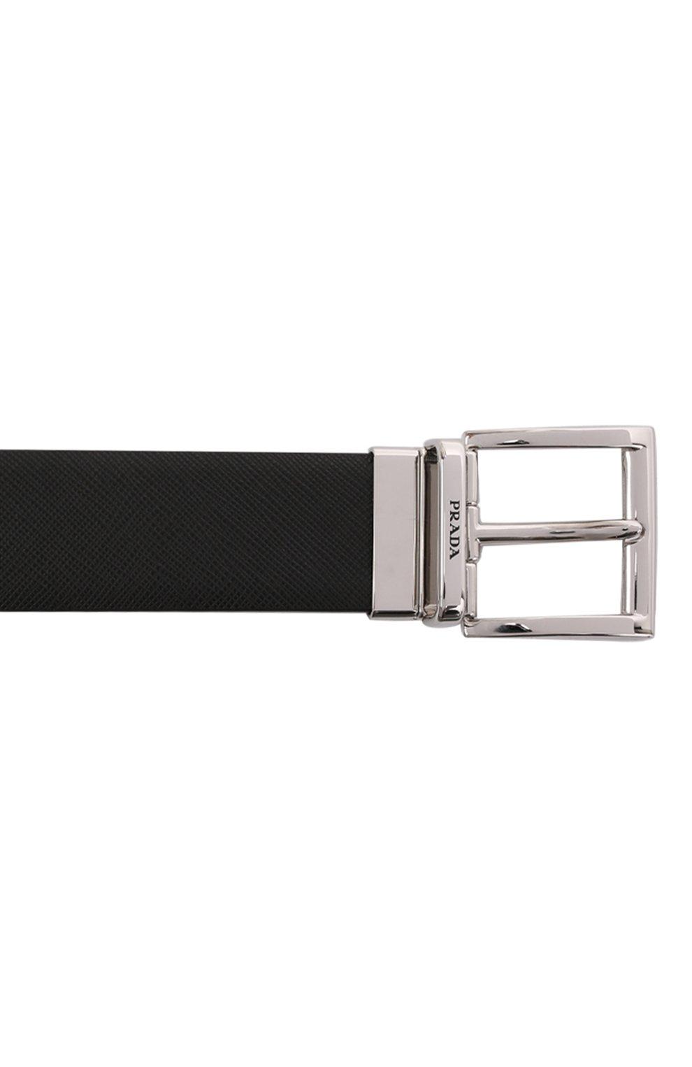 Мужской кожаный ремень PRADA черного цвета, арт. 2CC004-053-F0RD7   Фото 3 (Случай: Формальный)