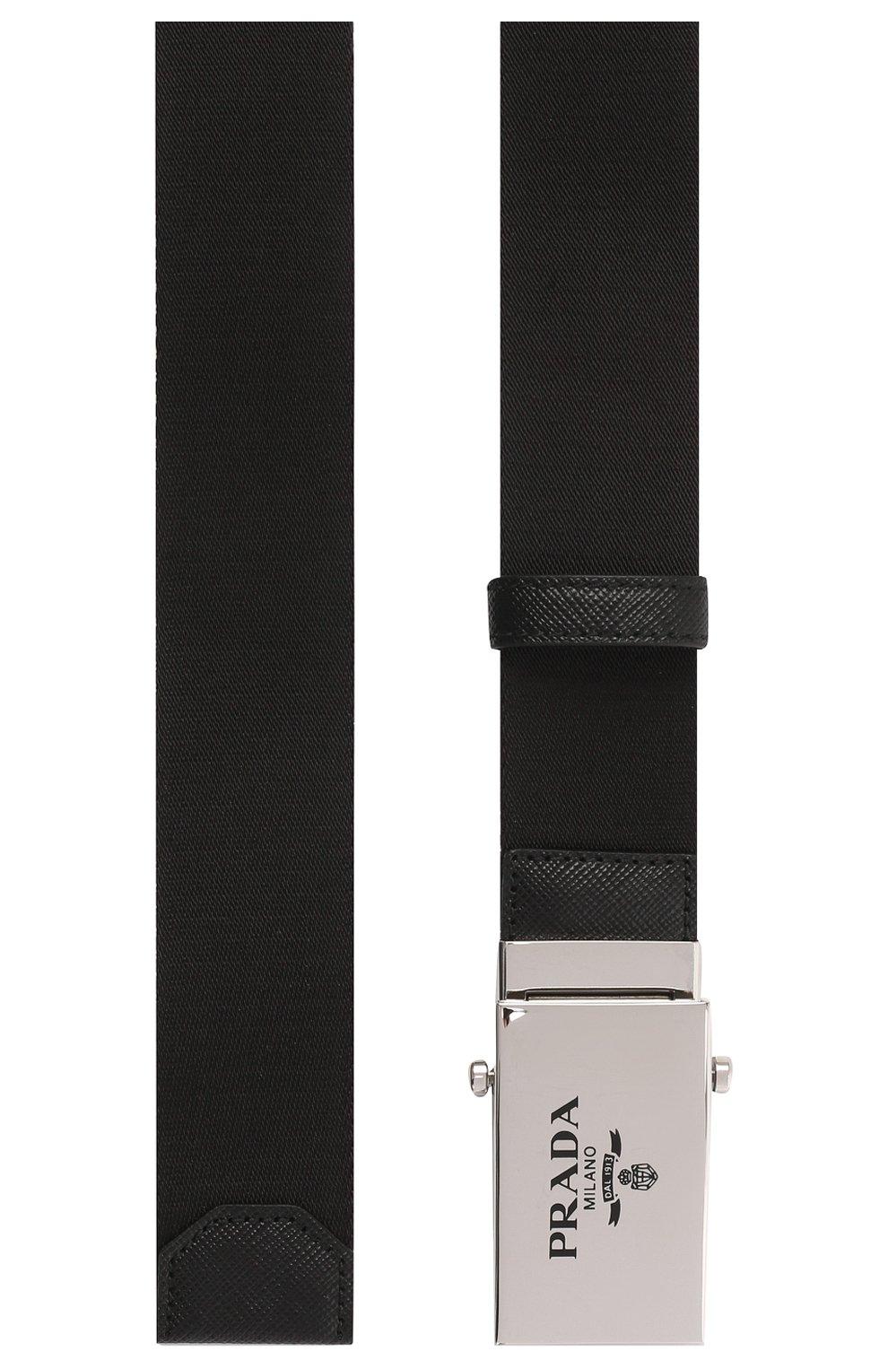 Мужской текстильный ремень PRADA черного цвета, арт. 2CN023-2DMN-F0002 | Фото 2 (Материал: Текстиль, Синтетический материал; Случай: Повседневный)