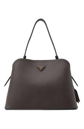 Женская сумка matinée PRADA коричневого цвета, арт. 1BA249-2ERX-F0KS4-OOO   Фото 1 (Материал: Натуральная кожа; Ремень/цепочка: На ремешке; Размер: large; Сумки-технические: Сумки top-handle)