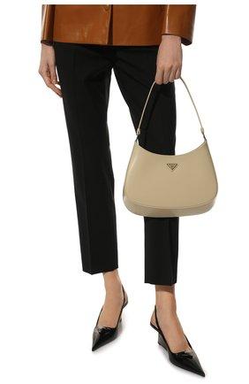 Женская сумка cleo PRADA бежевого цвета, арт. 1BC499-ZO6-F0F24-OOO   Фото 2 (Размер: medium; Материал: Натуральная кожа; Сумки-технические: Сумки top-handle)