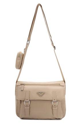 Женская сумка re-nylon PRADA бежевого цвета, арт. 1BD953-RV44-F0F24-B1O   Фото 1 (Материал: Текстиль; Размер: medium; Ремень/цепочка: На ремешке; Сумки-технические: Сумки через плечо)