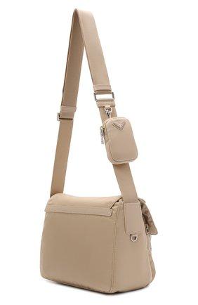 Женская сумка re-nylon PRADA бежевого цвета, арт. 1BD953-RV44-F0F24-B1O   Фото 2 (Материал: Текстиль; Размер: medium; Ремень/цепочка: На ремешке; Сумки-технические: Сумки через плечо)