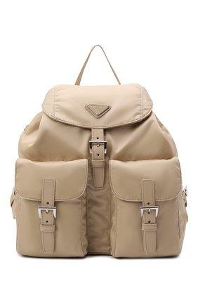 Женский рюкзак PRADA бежевого цвета, арт. 1BZ811-RV44-F0F24-OTO   Фото 1 (Материал: Текстиль; Размер: large; Стили: Спорт)