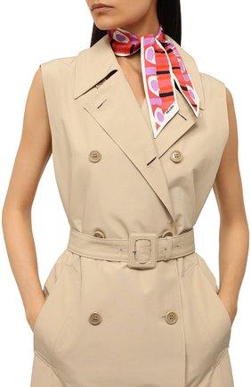 Женский шелковый платок PRADA розового цвета, арт. 1FF008-2CA2-F0T08 | Фото 2 (Материал: Шелк, Текстиль)