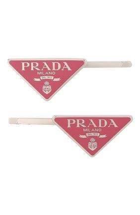 Женская набор из двух заколок для волос PRADA розового цвета, арт. 1IF051-2BA6-F0442 | Фото 1 (Материал: Металл)