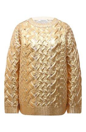 Женский шерстяной свитер VALENTINO золотого цвета, арт. WB0KC27N6SP | Фото 1 (Длина (для топов): Стандартные; Материал внешний: Шерсть; Рукава: Длинные; Стили: Гламурный; Женское Кросс-КТ: Свитер-одежда)