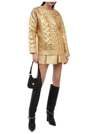 Женский шерстяной свитер VALENTINO золотого цвета, арт. WB0KC27N6SP | Фото 2 (Длина (для топов): Стандартные; Материал внешний: Шерсть; Рукава: Длинные; Стили: Гламурный; Женское Кросс-КТ: Свитер-одежда)