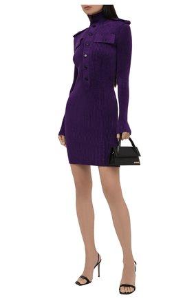 Женское платье BOTTEGA VENETA фиолетового цвета, арт. 678008/V1CP0 | Фото 2 (Стили: Гламурный; Длина Ж (юбки, платья, шорты): Мини; Рукава: Длинные; Материал внешний: Синтетический материал, Вискоза; Случай: Повседневный; Кросс-КТ: Трикотаж; Женское Кросс-КТ: Платье-одежда)