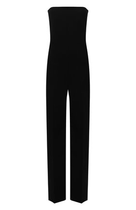 Женский шерстяной комбинезон BOTTEGA VENETA черного цвета, арт. 666487/VKIS0   Фото 1 (Материал внешний: Шерсть; Длина (брюки, джинсы): Удлиненные; Материал подклада: Вискоза; Стили: Гламурный; Случай: Вечерний; Женское Кросс-КТ: Комбинезон-одежда)