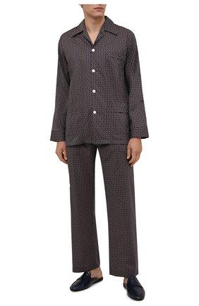 Мужская хлопковая пижама DEREK ROSE коричневого цвета, арт. 5000-NELS082   Фото 1 (Длина (для топов): Стандартные; Рукава: Длинные; Материал внешний: Хлопок; Длина (брюки, джинсы): Стандартные; Кросс-КТ: домашняя одежда)