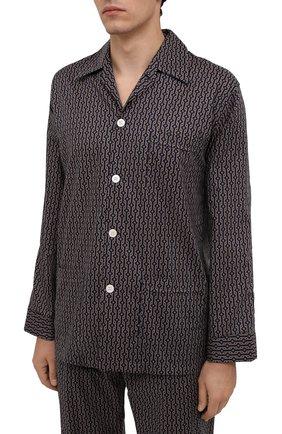 Мужская хлопковая пижама DEREK ROSE коричневого цвета, арт. 5000-NELS082   Фото 2 (Длина (для топов): Стандартные; Рукава: Длинные; Материал внешний: Хлопок; Длина (брюки, джинсы): Стандартные; Кросс-КТ: домашняя одежда)