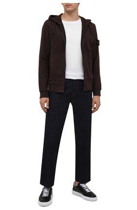 Мужской хлопковая толстовка STONE ISLAND темно-коричневого цвета, арт. 751564220 | Фото 2 (Материал внешний: Хлопок; Мужское Кросс-КТ: Толстовка-одежда; Стили: Спорт-шик)