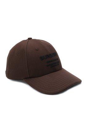 Мужской хлопковая бейсболка BURBERRY коричневого цвета, арт. 8045057 | Фото 1 (Материал: Хлопок, Текстиль)